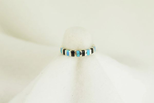 Sterling silver black onyx and blue opal inlay ring. R062