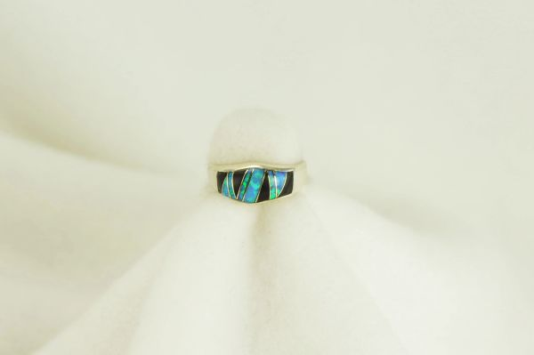 Sterling silver black onyx and blue opal inlay ring. R064