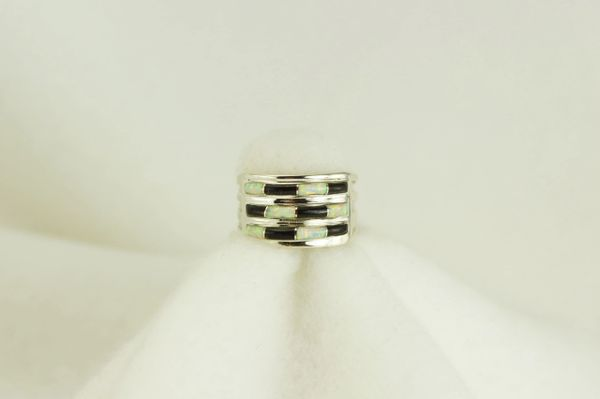 Sterling silver black onyx and white opal inlay ring. R067