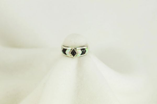 Sterling silver black onyx and white opal inlay ring. R069
