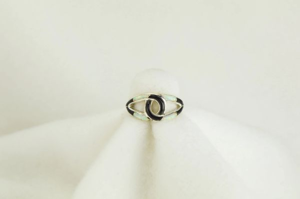 Sterling silver black onyx and white opal inlay ring. R075