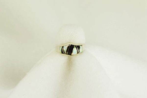 Sterling silver black onyx and white opal inlay ring. R078