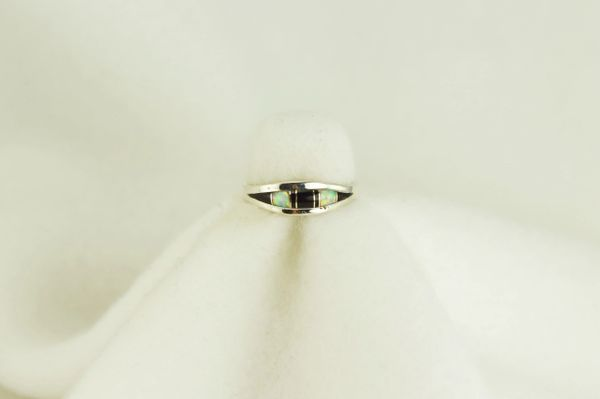 Sterling silver black onyx and white opal inlay ring. R083