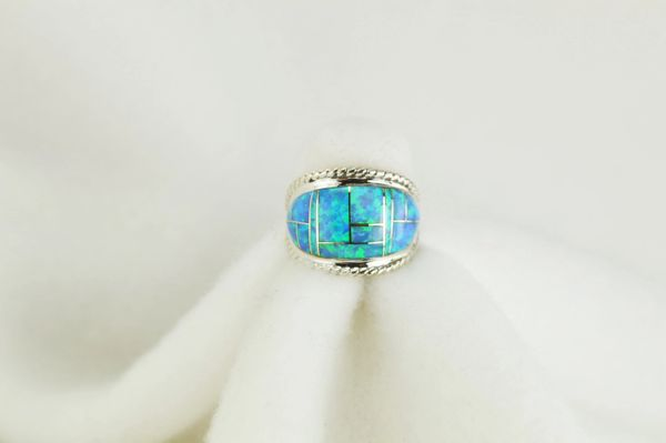 Sterling silver blue opal inlay ring. R089