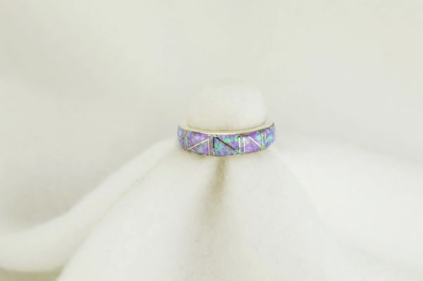Sterling silver pink opal inlay ring. R091