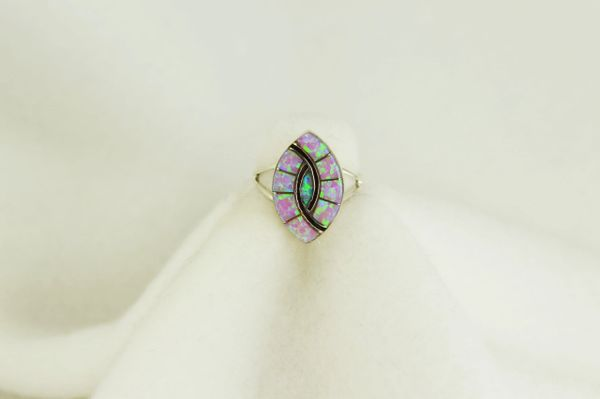 Sterling silver pink opal inlay ring. R092