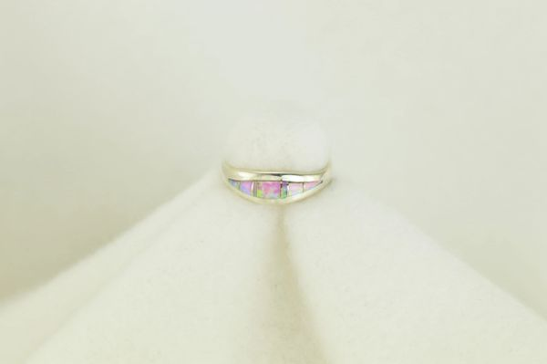 Sterling silver pink opal inlay ring. R105