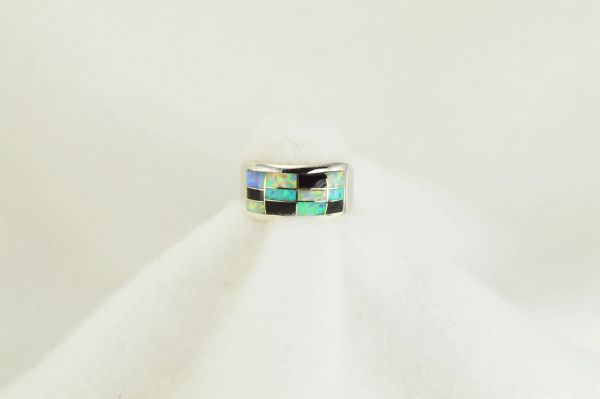Sterling silver white opal, blue opal and black onyx inlay ring. R107