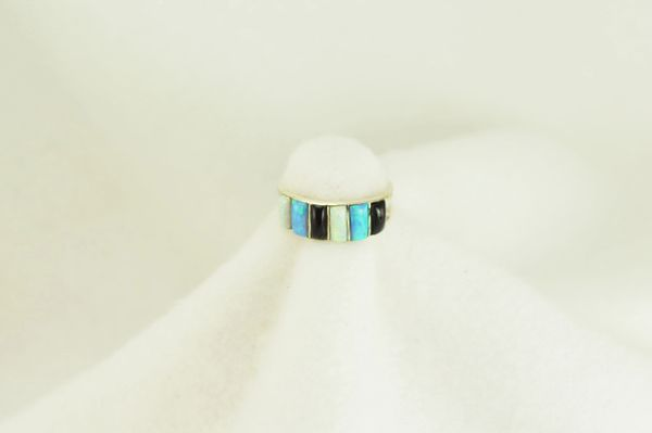 Sterling silver white opal, blue opal and black onyx inlay ring. R109