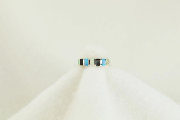 Sterling silver white opal, blue opal and black onyx inlay ring. R112