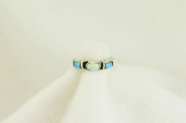 Sterling silver white opal, blue opal and black onyx inlay ring. R114