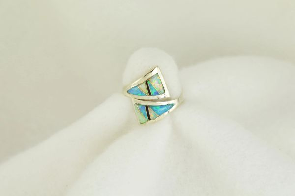 Sterling silver white opal, blue opal and black onyx inlay ring. R117