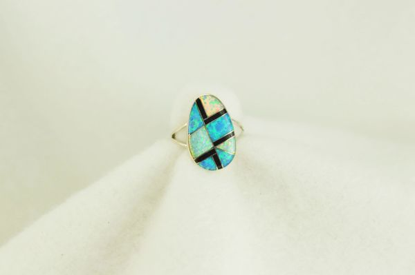 Sterling silver white opal, blue opal and black onyx inlay ring. R118