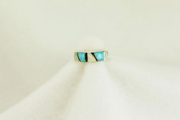Sterling silver white opal, blue opal and black onyx inlay ring. R119