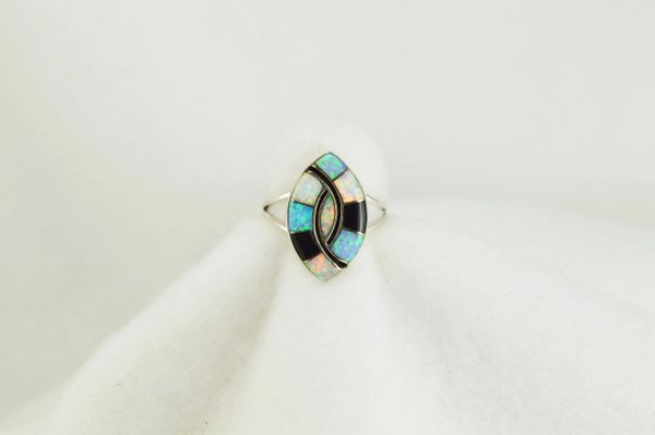 Sterling silver white opal, blue opal and black onyx inlay ring. R122