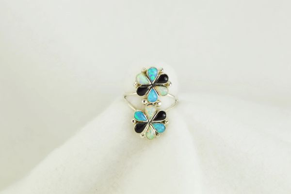 Sterling silver white opal, blue opal and black onyx inlay ring. R123