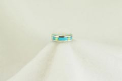 Sterling silver turquoise and white opal inlay ring. R126