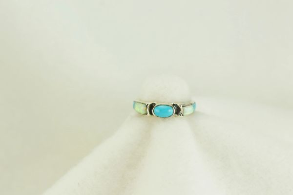Sterling silver turquoise and white opal inlay ring. R127