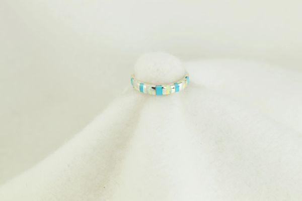 Sterling silver turquoise and white opal inlay ring. R128
