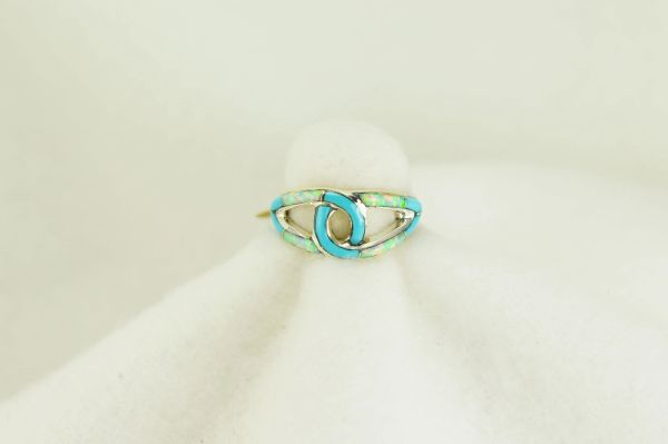 Sterling silver turquoise and white opal inlay ring. R130