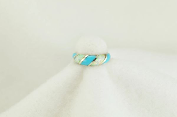 Sterling silver turquoise and white opal inlay ring. R131