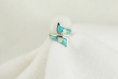 Sterling silver turquoise and white opal inlay ring. R132