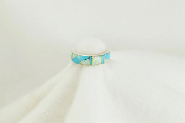 Sterling silver turquoise and white opal inlay ring. R133