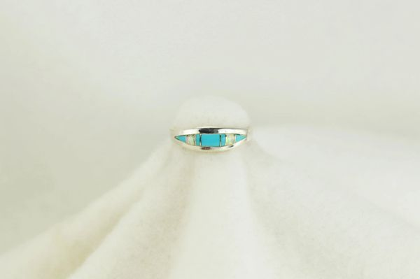 Sterling silver turquoise and white opal inlay ring. R134