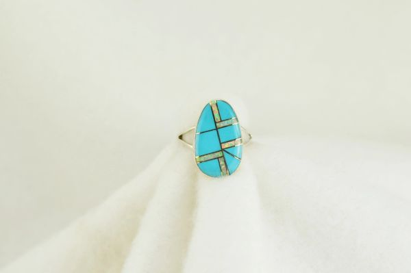 Sterling silver turquoise and white opal inlay ring. R135