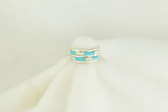 Sterling silver turquoise and white opal inlay ring. R136