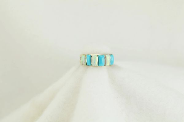 Sterling silver turquoise and white opal inlay ring. R137
