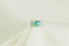 Sterling silver turquoise and white opal inlay ring. R138