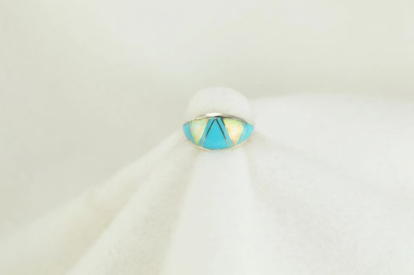 Sterling silver turquoise and white opal inlay ring. R139