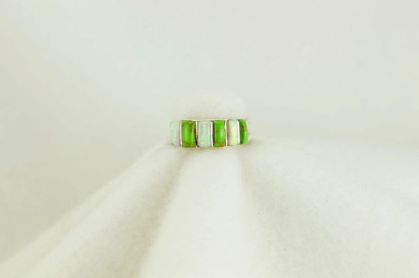 Sterling silver gaspeite and white opal inlay ring. R141