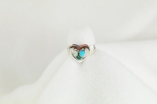 Sterling silver multi color inlay ring. R151