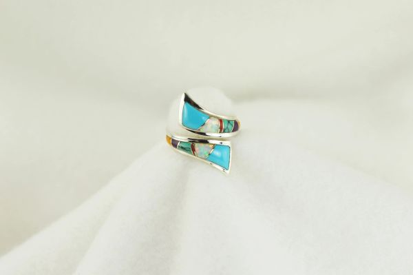 Sterling silver multi color inlay ring. R153