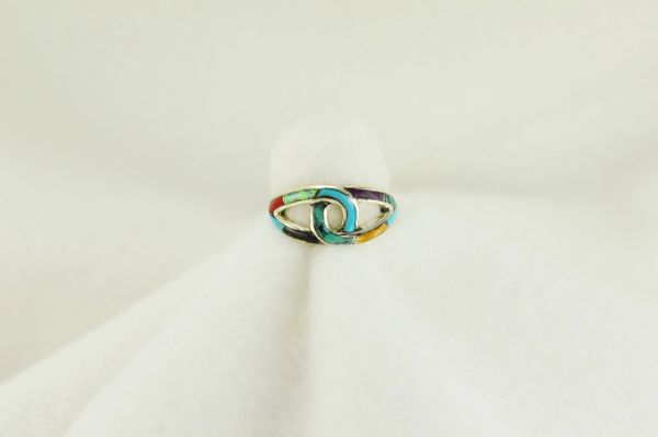 Sterling silver multi color inlay ring. R155
