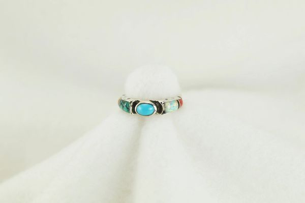 Sterling silver multi color inlay ring. R156