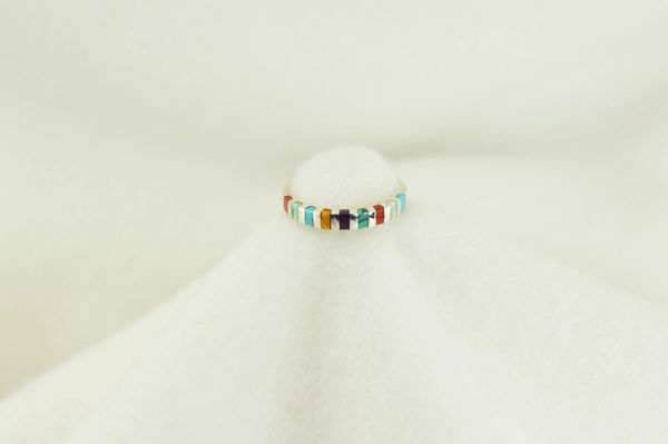 Sterling silver multi color inlay ring. R157