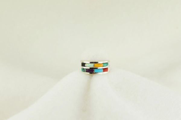 Sterling silver multi color inlay ring. R158
