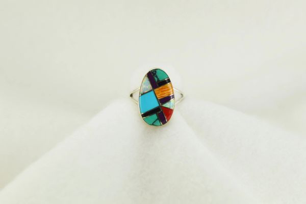 Sterling silver multi color inlay ring. R159
