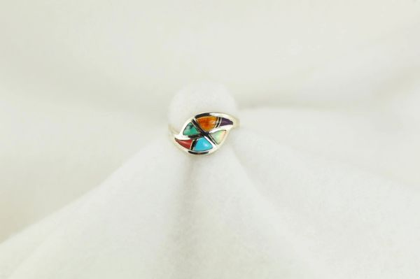 Sterling silver multi color inlay ring. R160