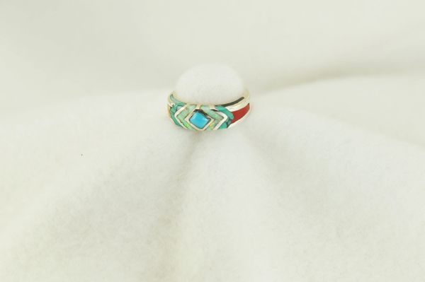 Sterling silver multi color inlay ring. R162