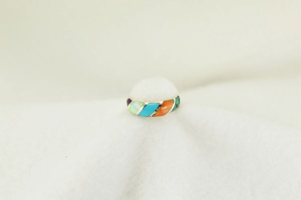 Sterling silver multi color inlay ring. R164