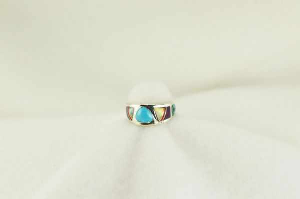 Sterling silver multi color inlay ring. R165