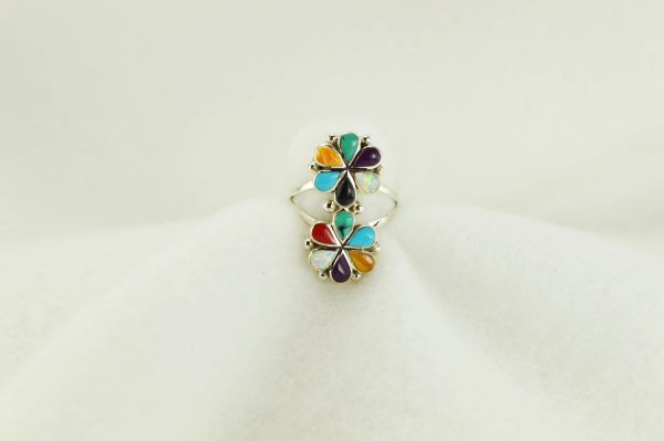 Sterling silver multi color inlay ring. R167