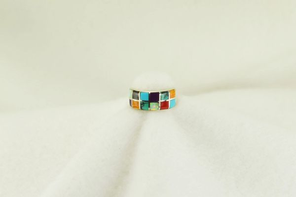 Sterling silver multi color inlay ring. R168