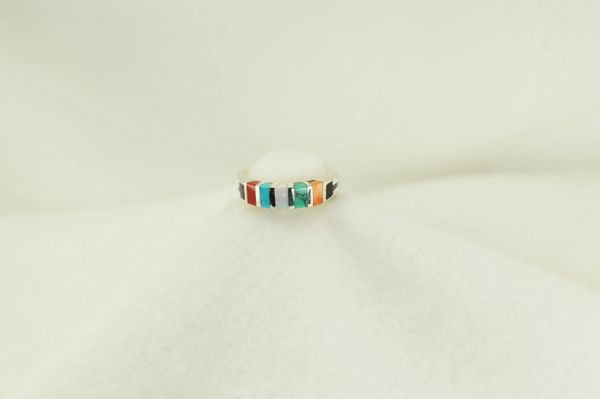 Sterling silver multi color inlay ring. R172