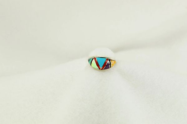 Sterling silver multi color inlay ring. R173