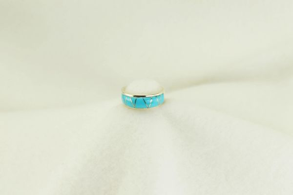 Sterling silver turquoise inlay ring. R175